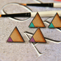 Dipped Aqua Lagoo Geometric Wooden Lasercut Stud Pencil Earrings