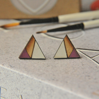 Geometric Painted Wooden Laser cut Stud Earrings in Megenta