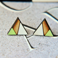 Geometric Painted Wooden Laser cut Stud Earrings