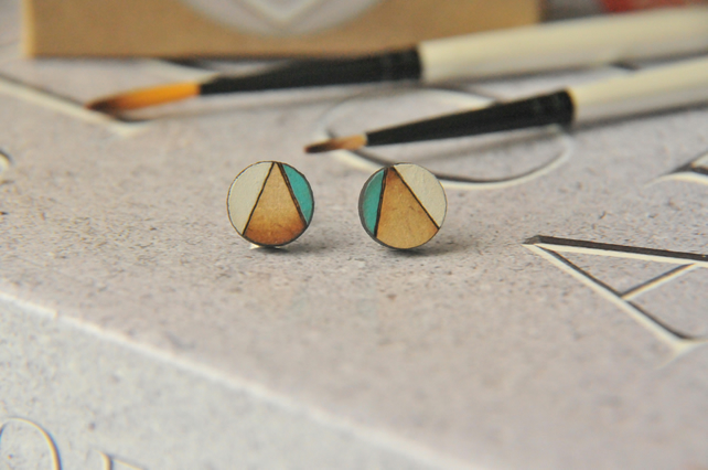 Aqua Blue Geometric Wooden Lasercut Round Stud Earrings Abstract Pattern