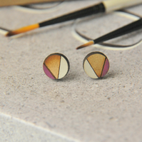 Magenta Geometric Wooden Lasercut Round Stud Earrings Abstract Pattern