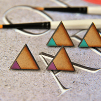 Dipped Pink Geometrical Wooden Lasercut Stud Pencil Earrings
