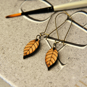 Wooden Lasercut Leaf Pendent Earrings