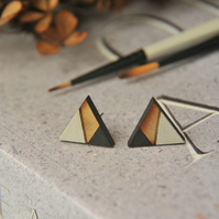 Geometric Painted Wooden Laser cut Stud Earrings in Monochrome