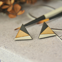 Geometric Painted Wooden Laser cut triangle Earrings in Monochrome