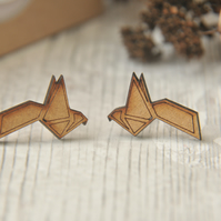 Wooden Lasercut Origami inspired  Guetzal Bird Stud Earrings