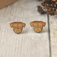 Wooden Lasercut Super Cute Pug Stud Earrings