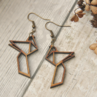 Lasercut Origami Inspired Bird of Paradise Drop Earrings