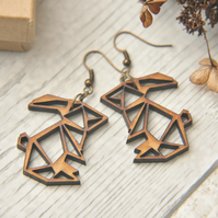 Lasercut Origami inspired Rabbit Drop Earrings