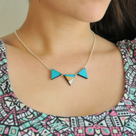 Hand Painted Reversible Geometric Necklace in Aqua and grey design 2