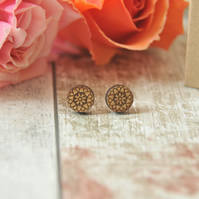 Passion Flower Design Round Studs
