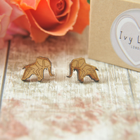 Wooden Lasercut Origami Elephant Stud Earrings