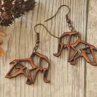 Lasercut Origami inspired Elephant Drop Earrings