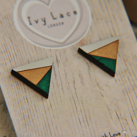 Geometric Painted Wooden Laser cut triangle Earrings in Forest Green
