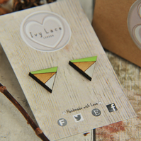 Geometric Painted Wooden Laser cut triangle Earrings in Lime Green