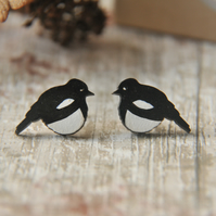 Handpainted Magpie Stud earrings,Bird Earrings