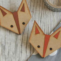 Cute Fox Wooden Brooch in Clay Red
