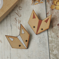 Cute Fox Wooden Brooch in Brown