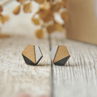 Hexagon Wooden Lasercut Stud Earrings, wooden earrings, Geometric studs