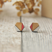 Hexagon Wooden Lasercut Stud Earrings, wooden earrings, Geometric studs in Red