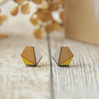 Hexagon Wooden Lasercut Stud Earrings, wooden earrings,Geometric studs in Yellow