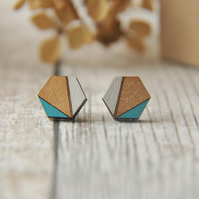 Hexagon Wooden Lasercut Stud Earrings, wooden earrings,Geometric studs in Aqua