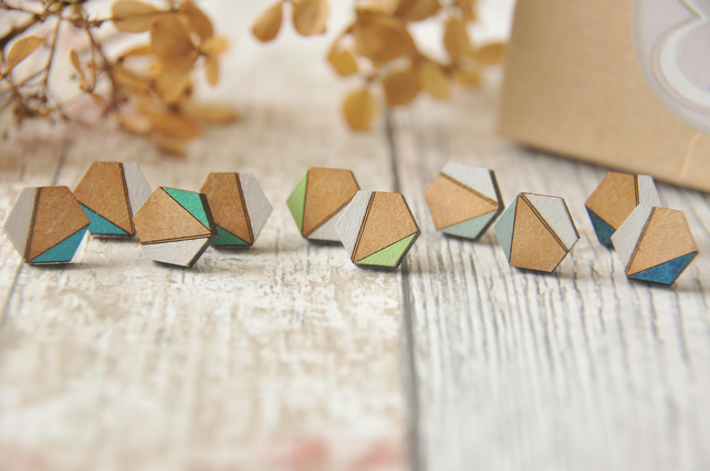 Hexagon Wooden Lasercut Stud Earrings, wooden earrings,Geometric studs in Lime