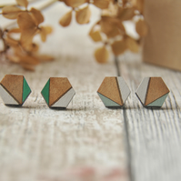 Hexagon Wooden Lasercut Stud Earrings, wooden earrings,Geometric studs in Sage