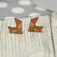 Handpainted Geometric Fox Stud Earrings in Orange