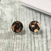 Geometric Copper Leaf round wooden Black studs Set. Minimal wooden jewellery