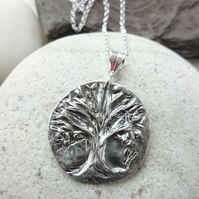 Tree of Life handmade fine silver pendant on chain