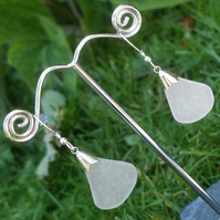 Sea glass & sterling silver earrings