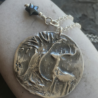 Stag and tree pendant