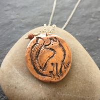 Copper fox pendant with sterling silver