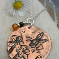 Bee and flowers necklace