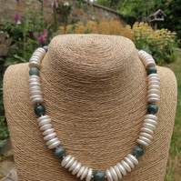 Freshwater Pearl, Indian agate, moss agate & sterling silver necklace