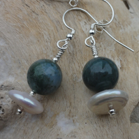 Freshwater Pearl, Indian agate, moss agate & sterling silver earrings