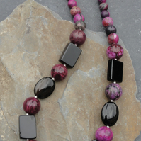 Black agate, purple jasper and sterling silver necklace