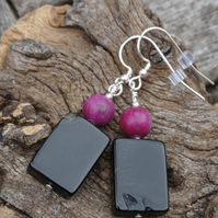 Black agate, purple jasper and sterling silver earrings