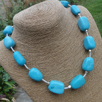 Turquoise Blue Nugget Stone Necklace with sterling silver