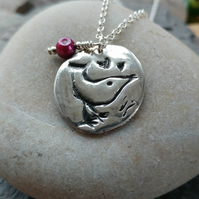 Silver bird pendant with freshwater pearl