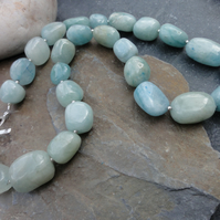 Aquamarine and sterling silver semi precious stone necklace