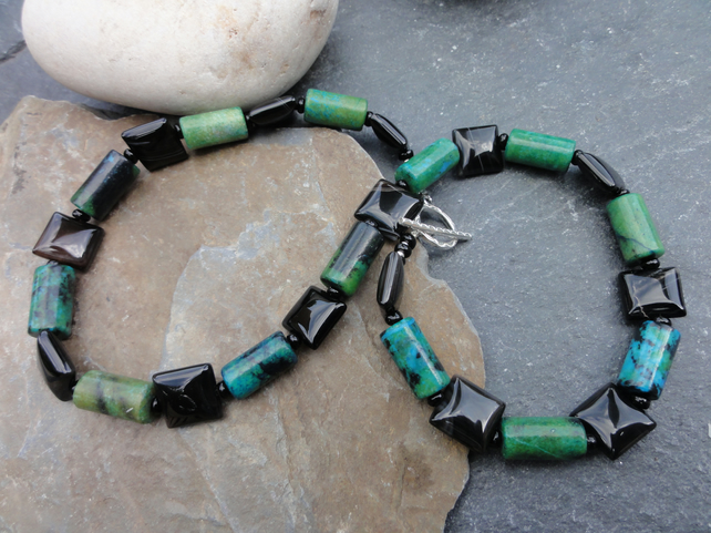Lapis Chrysocolla, black agate and sterling silver necklace