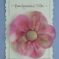 Handpainted silk flower brooch
