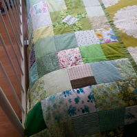 End of bed blanket, patchwork bed blanket, quilted bed runner, patchwork runner