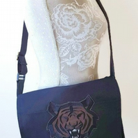 Handmade Manbag, Manbag, messenger bag, Tiger hand bag, Messenger, Gifts for him