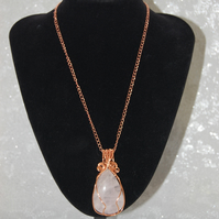Ladies Pink & Rose Gold Necklace, Womens Wire Wrapped Gemstone Jewellery gifts