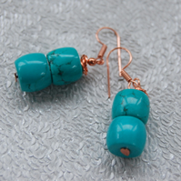 Ladies Blue Howlite Gemstone with Rose Gold Earrings Womens Jewellery Gifts