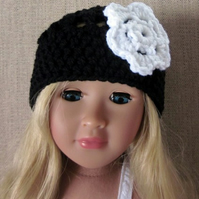 18in doll hat, black and white, 18in doll clothes, hand crochet