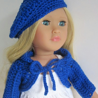 18 inch doll clothes, blue beret shrug and shoes outfit,  hand crochet in blue